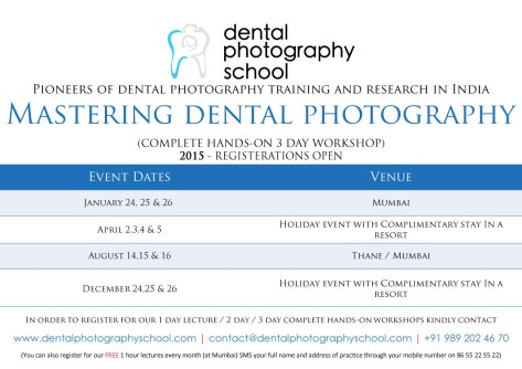 Dental photography School forthcoming workshops in dental photography